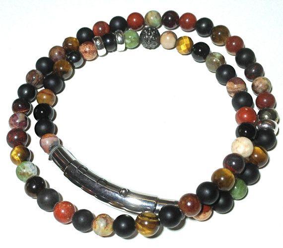 SLINT, semi-presious stone mens bracelet adjustable