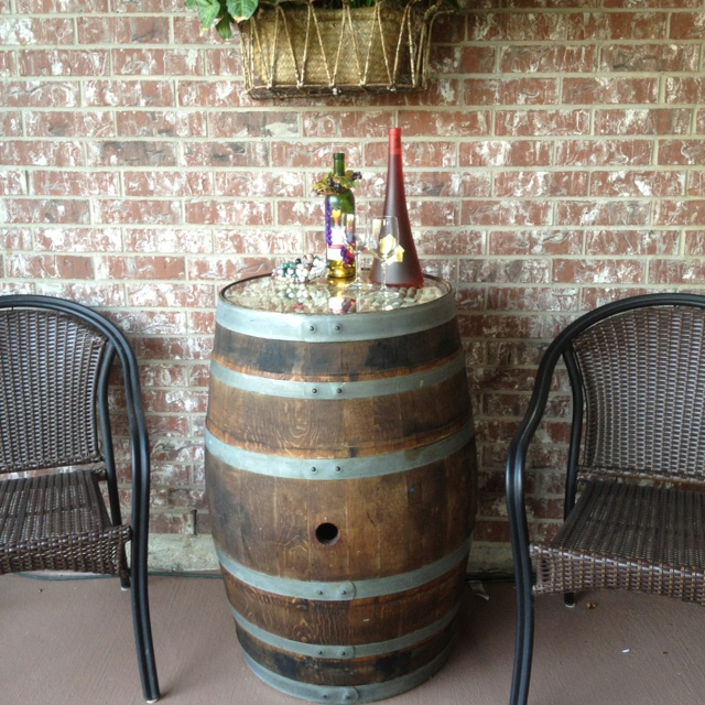Wine barrel table party planning pinterest for 1 2 wine barrel table