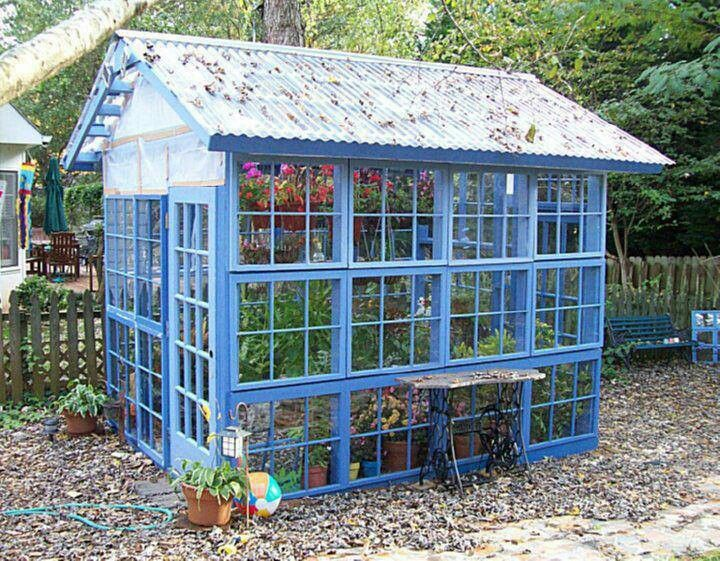 Recycled window greenhouses garden sheds n greenhouses for Reclaimed window greenhouse
