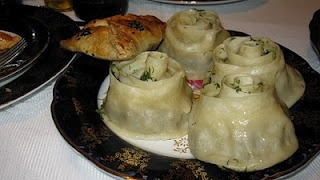 Tajik speciality Mantu – Dumplings stuffed with rice and mincemeat.