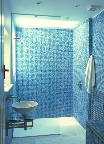 blue mosaic walk in shower cubical