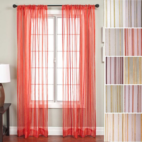 Allegra Sheer Embroidered Rod Pocket Curtains - Lengths To 120