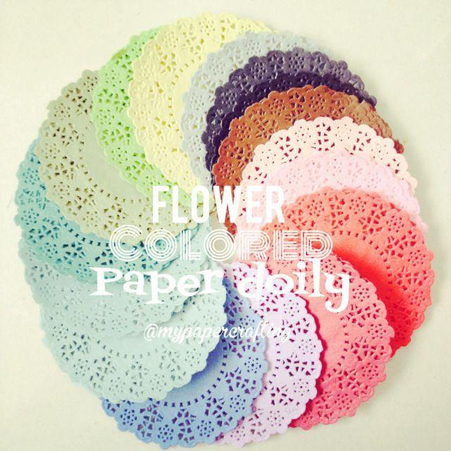 Flower colored paper doily  Paper Doilies  Pinterest