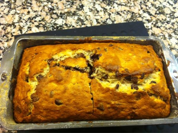 Chocolate Chip bourbon spiked banana bread. YUM. @maryhappyface