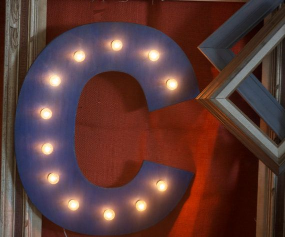 Big 16quot vintage marquee letter or number lighted wood a for Large vintage marquee letters