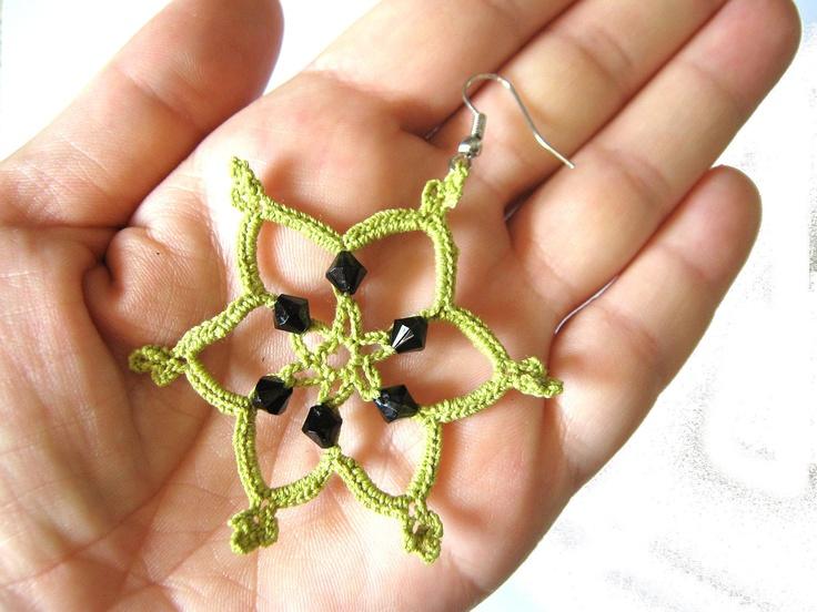 Green beaded snowflakes crochet earrings 12 https www etsy com