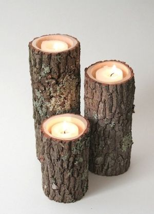 Centerpiece rustic log candle holders crafts pinterest for Log candle holder how to make