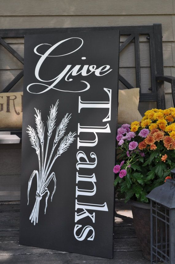 Give Thanks Wood Sign/Chalkboard Thanksgiving Sign/Holiday ...