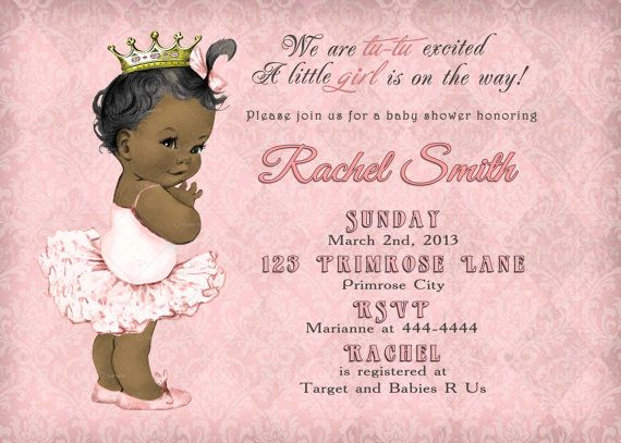 African American Girl Baby Shower Invitation And Free