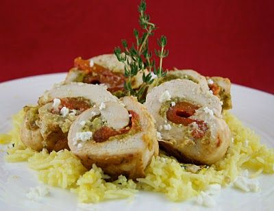 Chicken Breast stuffed w/ Roasted Red Peppers and Feta