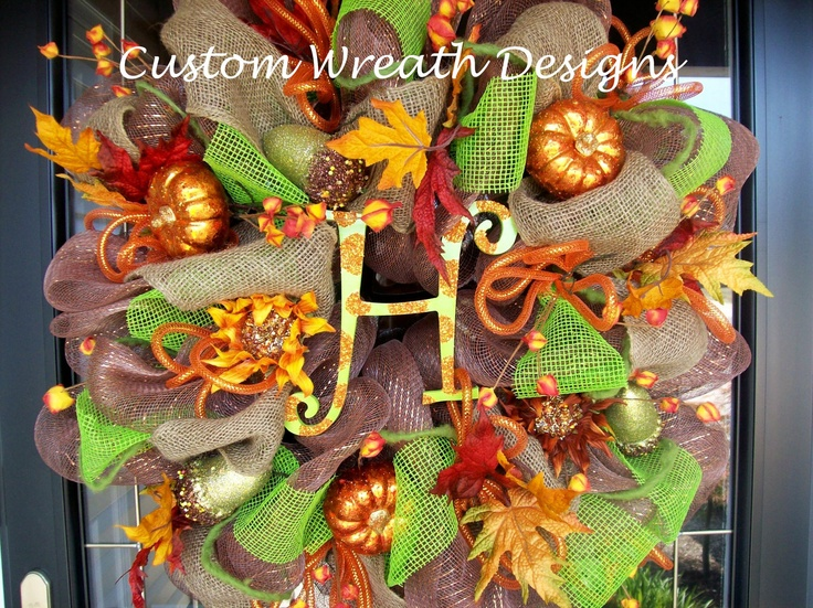 Fall Leaves Mesh Square Wreath