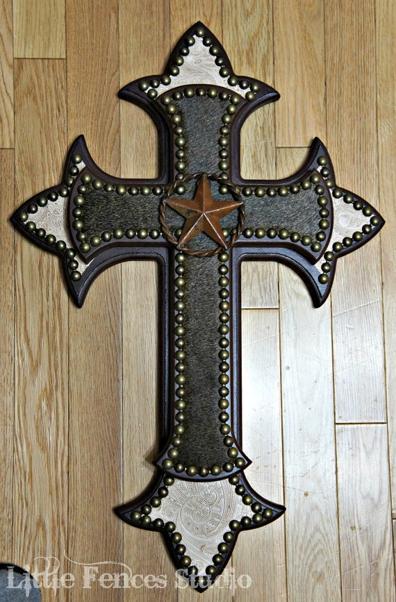 Cowhide crosses rustic home decor country home decor wood wall cro Home decor wall crosses