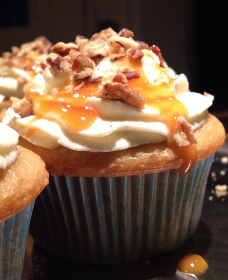 Butter Pecan Cupcakes with Caramel and Toasted Pecans