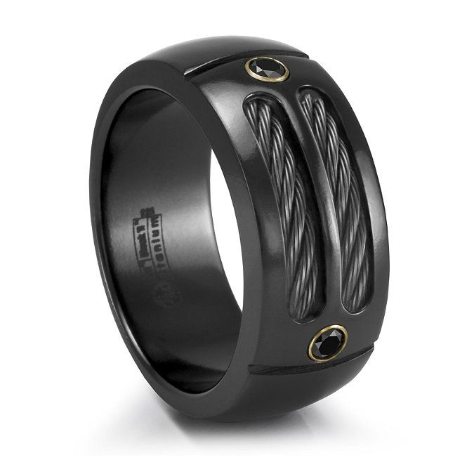 EM SPORT Ring  Black Titanium Cable Black Diamonds