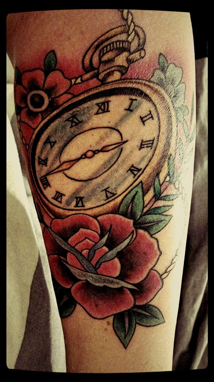 Traditional Tattoo Rose clock oldschool | Traditional ...