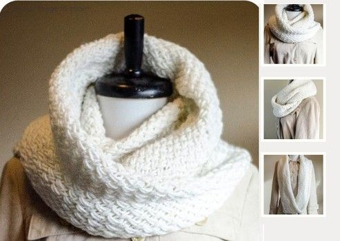 Free Snowdrift infinity scarf cowl knitting pattern to download