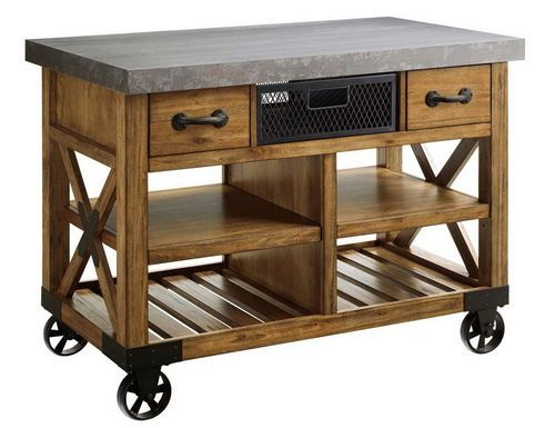 New Large Wooden Kitchen Island Cart Metal Top 48 X26 Wooden Drawers