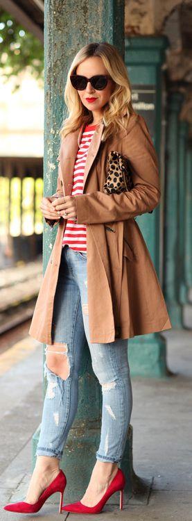 Blogger - Brooklyn Blonde || red stripes, camel coat, distressed denim