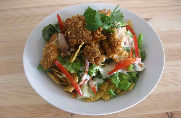Spicy Fried Chicken Salad; plain tortilla chips romaine lettuce spring ...