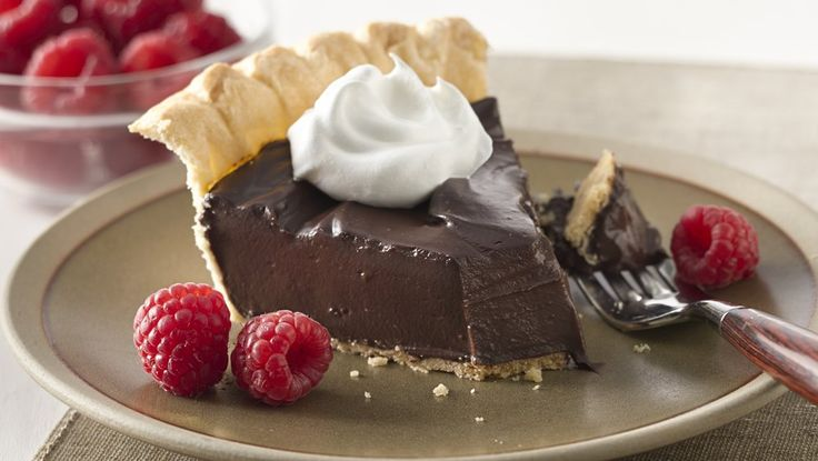 Dark chocolate and creamy pudding make a decadent filling for Pet-Ritz® frozen pie crust--a quick way to a fabulous dessert!