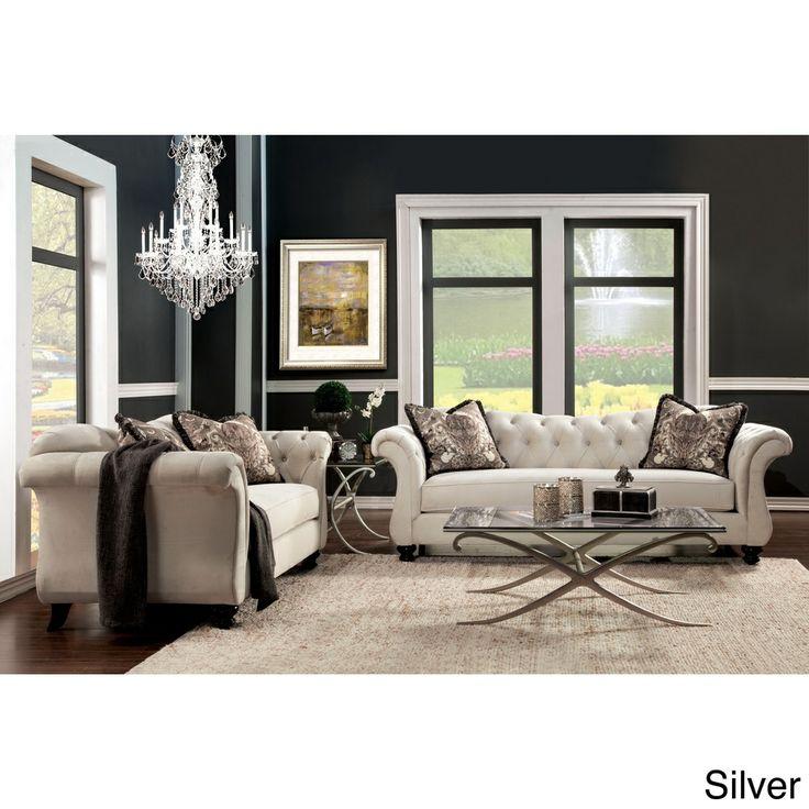 Furniture of america agatha 2 piece tufted sofa and for 2 piece sofa set