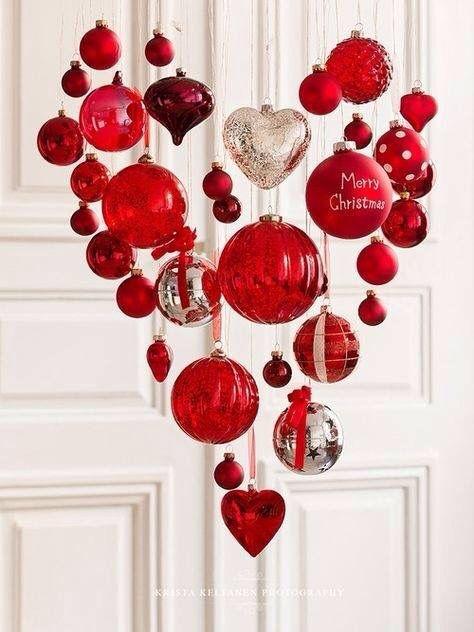 corazones rojos para navidad