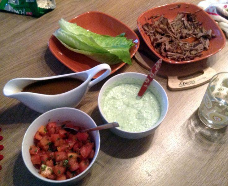 Pulled Lamb's Leg Lettuce Wraps with Tzatziki and Tomato Chutney