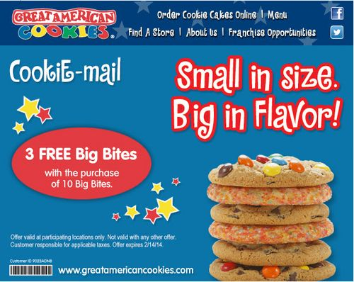 Great american cookie coupon code