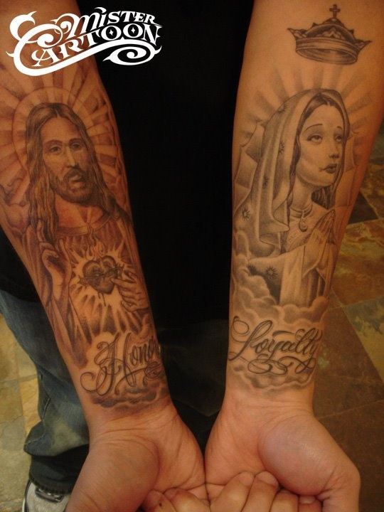 religious pieces mr cartoon tattoos pinterest. Black Bedroom Furniture Sets. Home Design Ideas