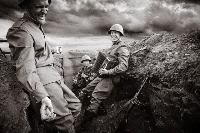Here's a rare one... laughter in the trenches.