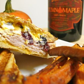 Goat Cheese and Turkey Panini with Pumpkin Aioli and Served with Bake ...