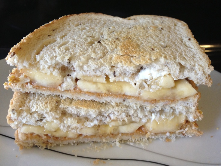 Grilled Banana Sandwich: -2 bread slices -peanut butter -honey -cream ...