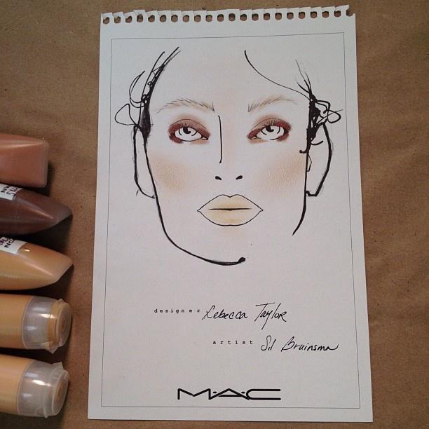 MAC face chart backstage at Rebecca Taylor. #nyfw