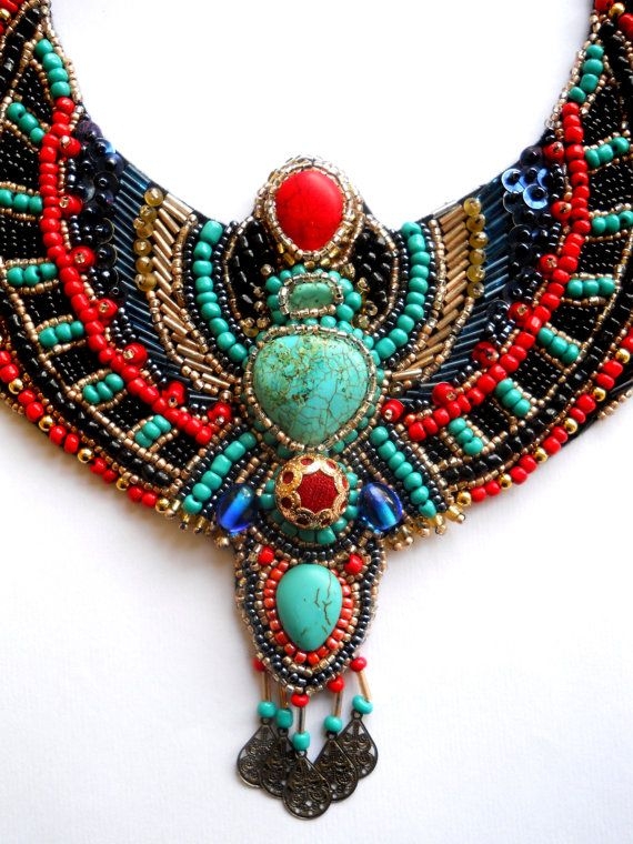 Egypt Inspired Bib Beaded Embroidery Necklace