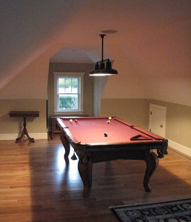 Style Ceiling Light Hangs Over A Pool Table In An A Frame Home