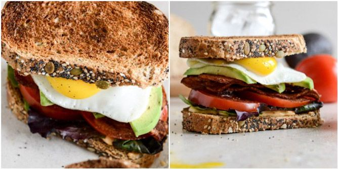 avocado blt's with spicy mayo and fried eggs. reminiscent of sandwhich ...