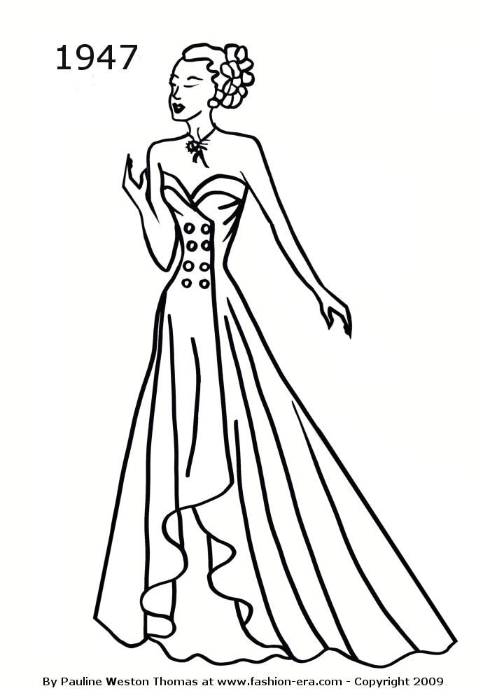 Dress Evening Gowns Coloring Pages Sketch Coloring Page