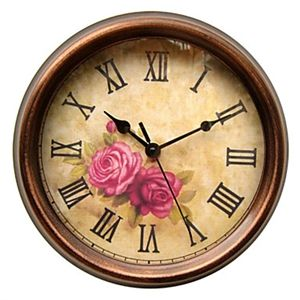 Country style floral wall clock in metal clock pinterest - Country style wall clocks ...