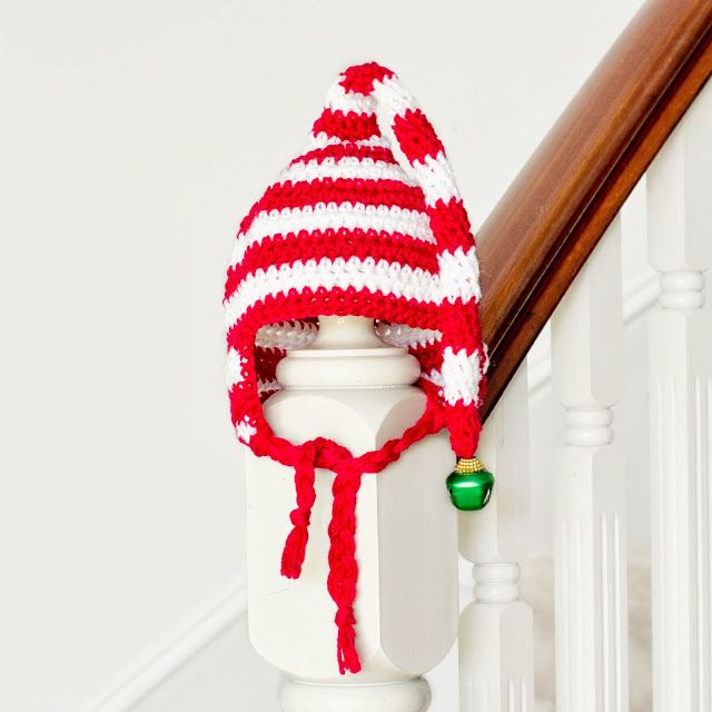 Free Crochet Elf Hat Pattern Baby : Baby Candy Cane Elf Hat Crochet Pattern