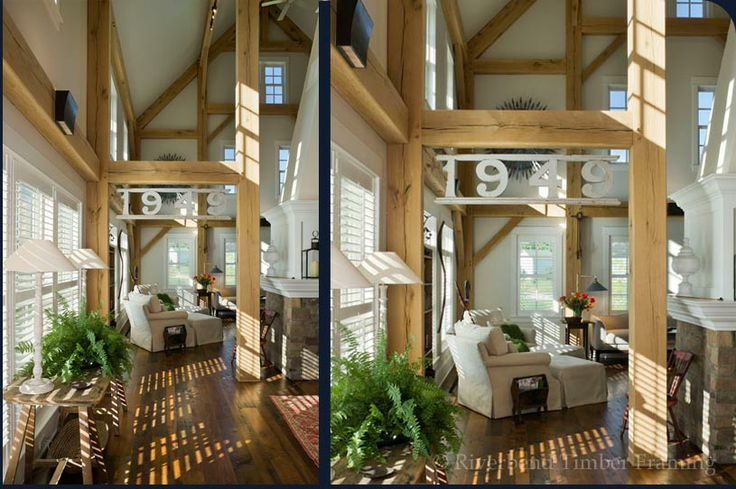Timber Frame Great Room For The Home Pinterest