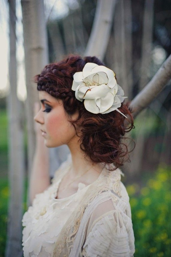 s curl hairstyle : Ivory bridal hair flower rustic vintage hair by Shanionie on Etsy, $30 ...
