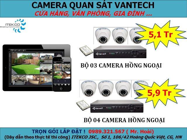 Bộ sản phẩm trọn gói giá rẻ của VANTECH 3-4 camera - dành cho cửa hàng bán lẻ, văn phòng, gia đình... - Xem trực tiếp qua Internet - Chức năng lưu hình trong 07 ngày, dễ dàng xem lại.  Bao gồm:   - 3-4 camera hồng ngoại VANTECH - 1 đầu ghi hình 4 kênh VANTECH - 1 ổ cứng Seagate sata Xem thêm: http://cameraquansat.tv/vi/bo-san-pham-tron-goi