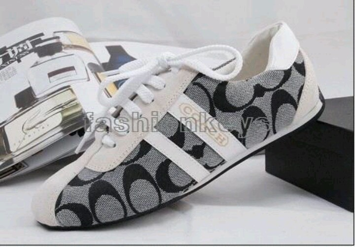 Gray black and white coach shoes