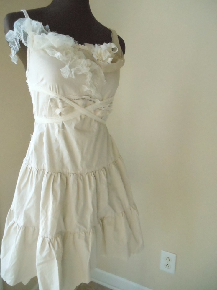 Shabby Chic Short Wedding Dress Wispy Ecru Tiered Pixie Tattered
