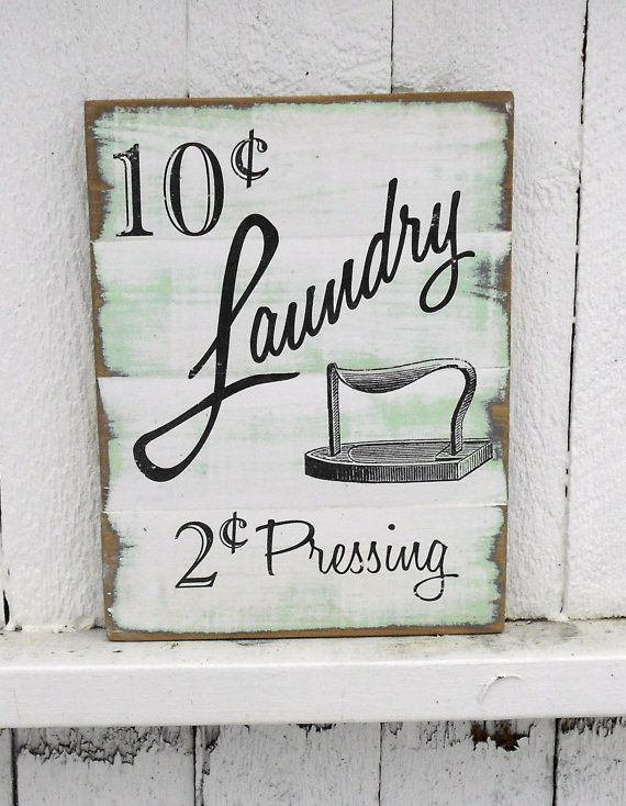 Laundry room wooden sign 10 x 14 shabby chic cottage for Room decor signs