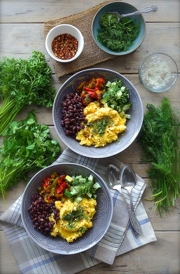 ... polenta bowls made with yellow corn grits and fresh vegetables and