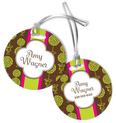Brown Topiary Luggage Tags