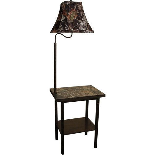 ... Oak Floor End Table w Lamp Accent Rustic Decor Camo Camouflage | eBay