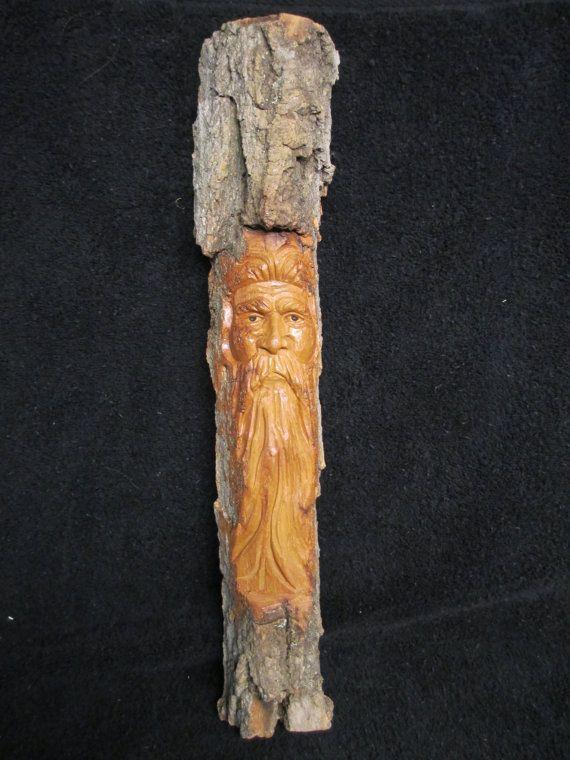 Cottonwood bark wood spirit ooak hand carved in missouri