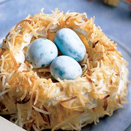 LOVE these meringue and toasted coconut nests for Easter!!